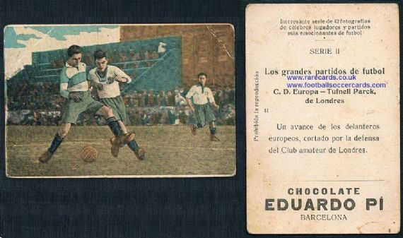 1923 Eduardo Pi  trade cards Arsenal interest Tufnell Park Europa